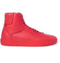Givenchy Leather High Top Sneakers Red