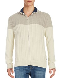 Nautica Colorblocked Cable Knit Sweater Bone White