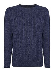 Linea Connaught Cable Crew Neck Knit Blue Jaspe