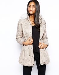 Lipsy Ruched Parka Jacket 001Neutral