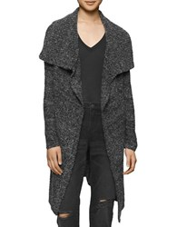 Calvin Klein Jeans Boucle Open Front Cardigan Black White