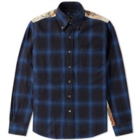 Sophnet. Camouflage Panel Ombre Check Shirt Blue