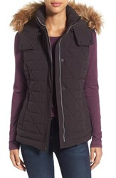Marc New York Women's By Andrew 'Thea' Removable Faux Fur Collar Quilted Down Vest Black