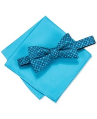 Alfani Men's Venus Geo Pre Tied Bow Tie And Pocket Square Set Only At Macy's Aqua
