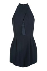 Wal G Crossover High Neck Playsuit By Navy Blue