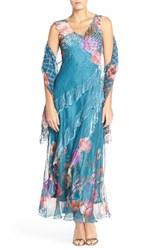 Women's Komarov Floral Print Chiffon Gown And Shawl