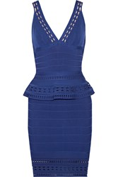 Herve Leger Rebecca Bandage Peplum Mini Dress Blue