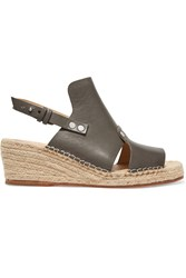 Rag And Bone Sayre Leather Wedge Espadrille Sandals Brown