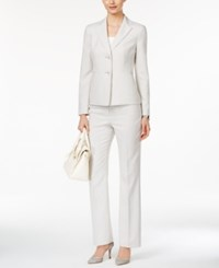 Le Suit Two Button Pinstriped Pantsuit Light Sand