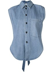 69 Sleeveless Denim Shirt Blue