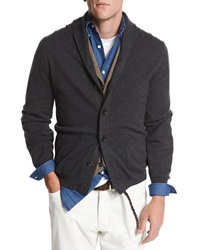 Brunello Cucinelli Shawl Collar Button Down Cardigan Dark Gray