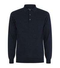 Barbour Perforated Knit Polo Shirt Male Navy