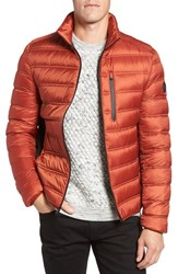Michael Kors Men's Nylon Down Fill Jacket Red Ochre