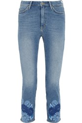 Mih Jeans M.I.H Niki Cropped Embroidered Mid Rise Skinny Mid Denim
