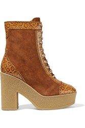 See By Chloe Suede And Croc Effect Leather Lace Up Boots Brown