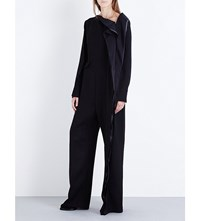 Yang Li Wave Detail Wool Blend Jumpsuit Black