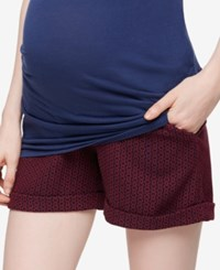 A Pea In The Pod Printed Jacquard Maternity Shorts Navy Red