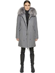Mrandmrs Italy Cotton Canvas Coat With Murmansky Fur