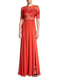 Jenny Packham Elbow Sleeve Embellished Gown Pumpkin