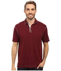 True Grit Soft Slub Short Sleeve Vintage Polo Port Men's Short Sleeve Pullover Burgundy