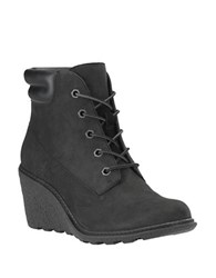 Timberland Amston Leather Wedge Heel Boots Black