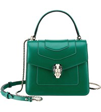 Bulgari Serpenti Forever Leather Shoulder Bag Emerald Green
