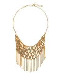 Lydell Nyc Fringe Crochet Bib Necklace Golden