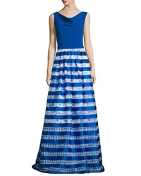 Theia Sleeveless Striped Skirt Ball Gown Royal White Women's