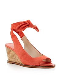 Bettye Muller Playlist Ankle Tie Wedge Sandals Coral