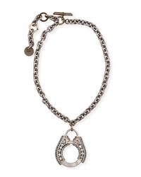 Lanvin Chain Crystal Pendant Necklace Gold Silver
