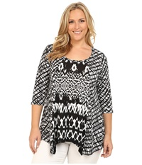 Karen Kane Plus Plus Size Tribal Stripe Contrast Top Black Off White Women's Blouse