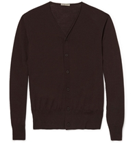 Bottega Veneta Fine Knit Merino Wool Cardigan Brown
