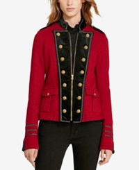 Denim And Supply Ralph Lauren French Terry Military Jacket Holiday Red