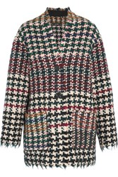 Isabel Marant Diana Frayed Houndstooth Tweed Coat Burgundy