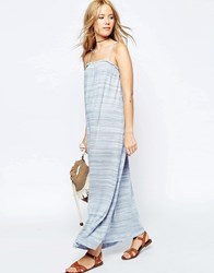 Asos High Neck Ruffle Edge Summer Maxi Dress Blue