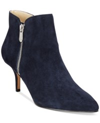 Adrienne Vittadini Senji Booties Women's Shoes Navy Blue Kidsuede