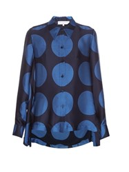 Stella Mccartney Large Polka Dot Print Long Sleeved Shirt Blue Multi