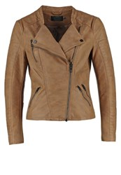 Only Onlava Faux Leather Jacket Cognac