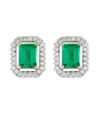 Carat 0.5Ct Emerald Border Asscher Stud Earrings Female