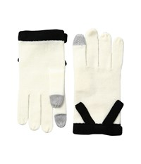 Kate Spade Contrast Bow Gloves Cream Black Extreme Cold Weather Gloves Bone