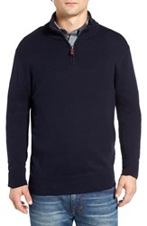 Bonobos Men's Cotton And Cashmere Quarter Zip Sweater Midnight Blue