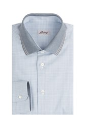 Brioni Cotton Shirt With Contrast Collar Blue