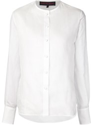 Martin Grant Round Neck Striped Shirt White
