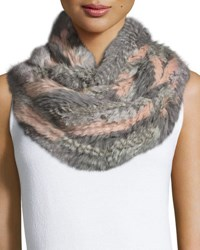 Jocelyn Rabbit Fur Infinity Scarf Gray Multicolor