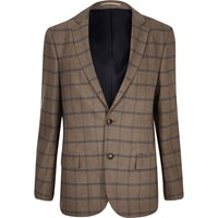 River Island Mens Ecru Checked Tailored Blazer Beige