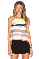 Milly Stripe Trapeze Cami Yellow