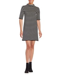 French Connection Striped Mockneck Dress Black Cream