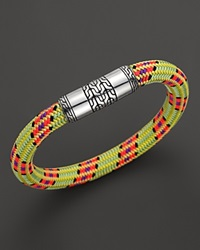 John Hardy Men's Classic Chain Silver Station On Multicolor Lime Green Cord Bracelet