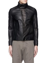 Attachment Asymmetric Zip Front Leather Racer Jacket Black