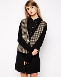 Fred Perry Checkered Cardigan Black